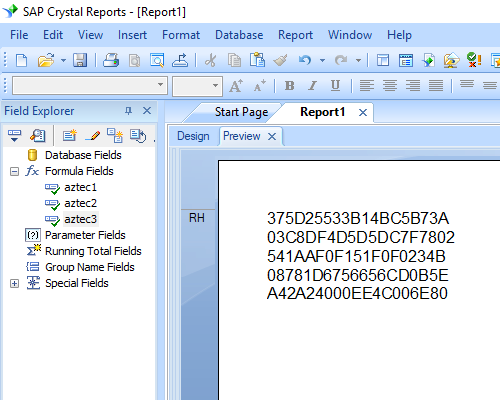 Aztec Code crystal reports formula field