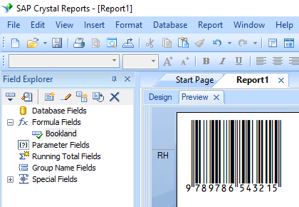 bookland barcode crystal reports