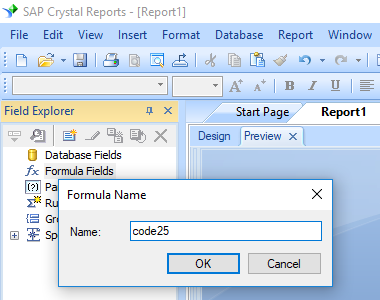 Code25 create formula crystal reports