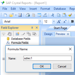 Aztec Code create formula crystal reports