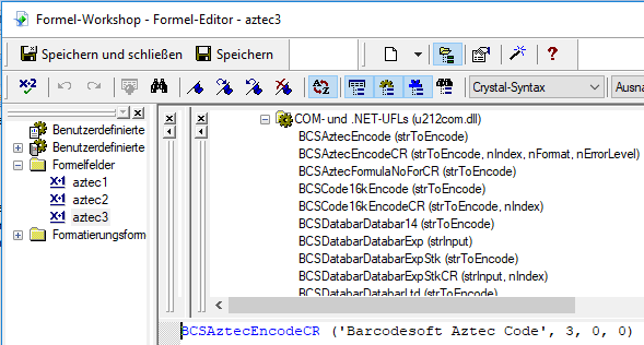 Aztec Code crystal reports Formelfelders