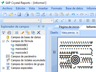 MaxiCode crystal reports