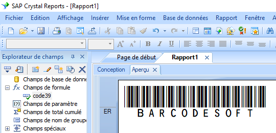 code39 code barres crystal reports