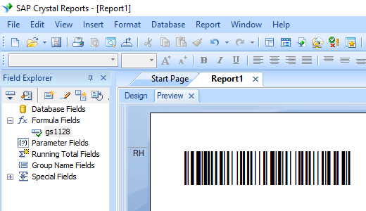 GS1128 barcode crystal reports