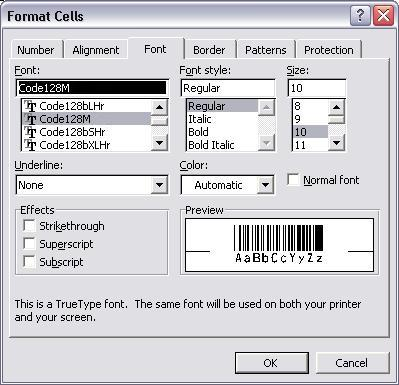 gs1128 barcode font excel