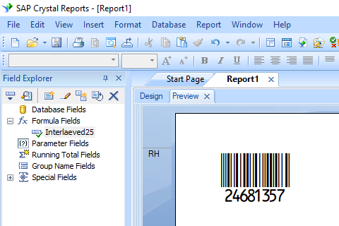 Interleaved 2of5 barcode crystal reports
