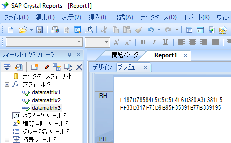 data matrix crystal reports 式 式フィールド