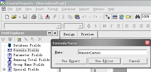 master carton code barcode create formule crystal reports