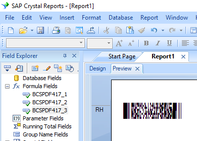 PDF417 barcode crystal reports