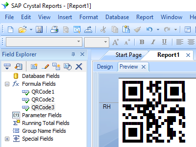 QRCode barcode crystal reports