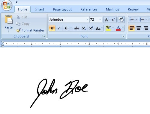 use signature font in ms word