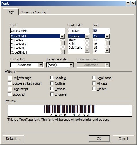 code39 barcode font MS Word